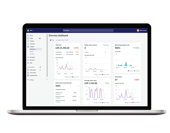 Ecommerce store dashboards